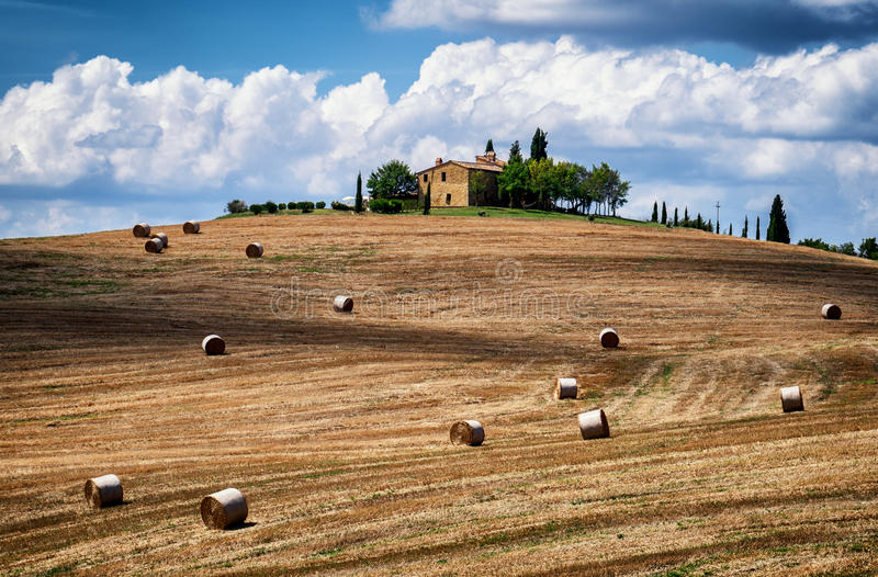 Tuscany. Haybales at a field - tuscany - italy - photo stock photos