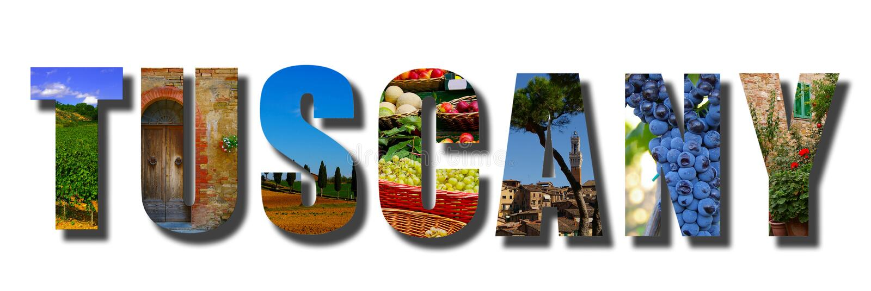 Tuscany Italien banercollage på vit arkivfoto