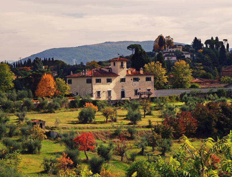Tuscany, Italy. Beautiful and colourful landscape of the tuscan countryside around Florence in Italy
