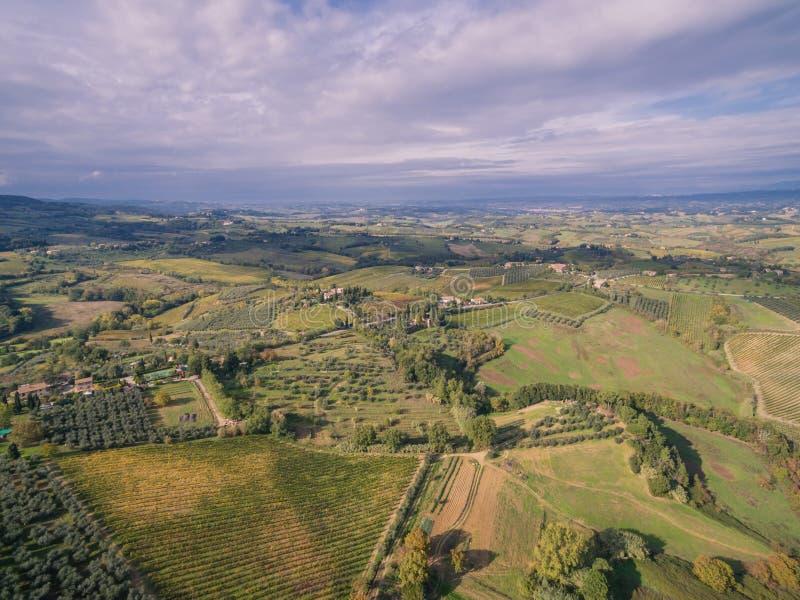 Tuscany, Italy, aerial view. Tuscany near San Gomignano, Italy, aerial view royalty free stock photography