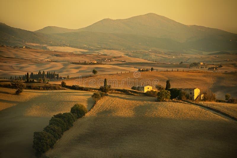 Tuscany - Italy. Autumn sunset over Tuscany in Italy stock photo