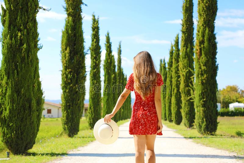 Tuscany and Italy tourist destination. Vacation and travel in famous cypresses pathway, Tuscany.  stock photo
