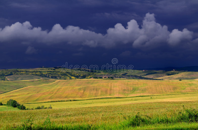 Tuscany june afternoon thunder stock photography
