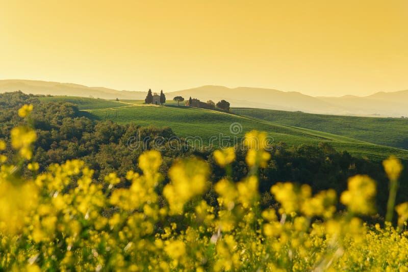 Tuscany krajobraz na wzgórzu z kaplicą madonna d troszkę obrazy royalty free