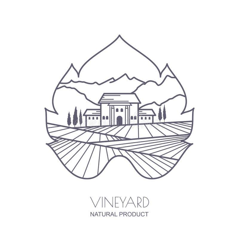 Tuscany krajobraz z winniców polami, willa, góry royalty ilustracja