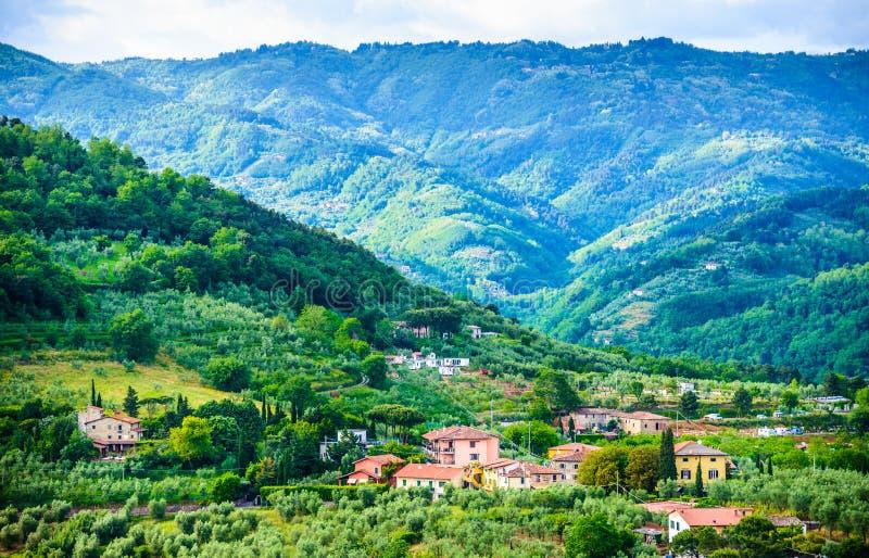 Tuscany kullar panorama- landskap, Italien arkivbild