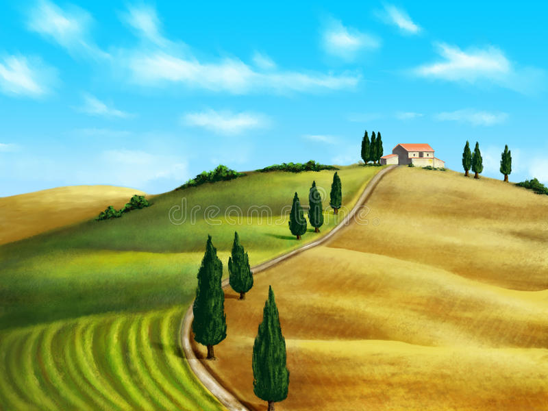 Tuscany landscape. Farmland in Tuscany, Italy. Original digital illustration stock illustration