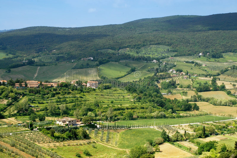 Tuscany landscape. Scenic view over typical Tuscany landscape stock photography