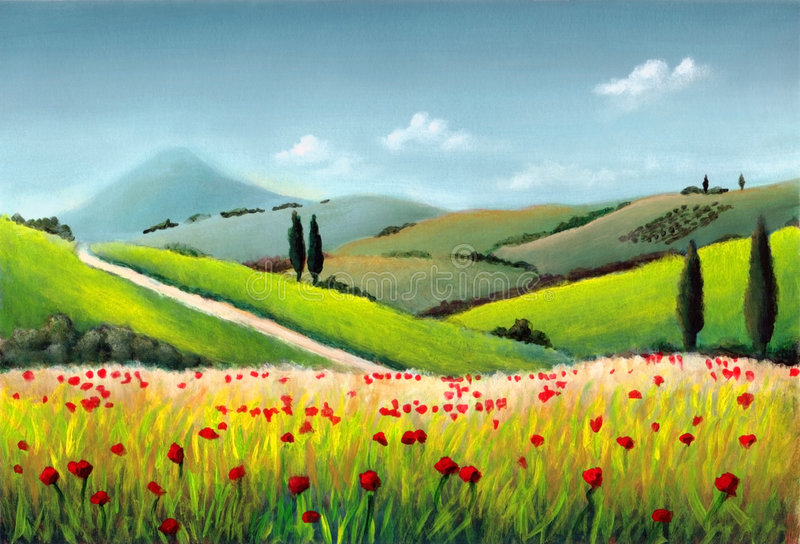Tuscany landscape. Farmland in Tuscany, Italy. Original hand painted illustration stock illustration
