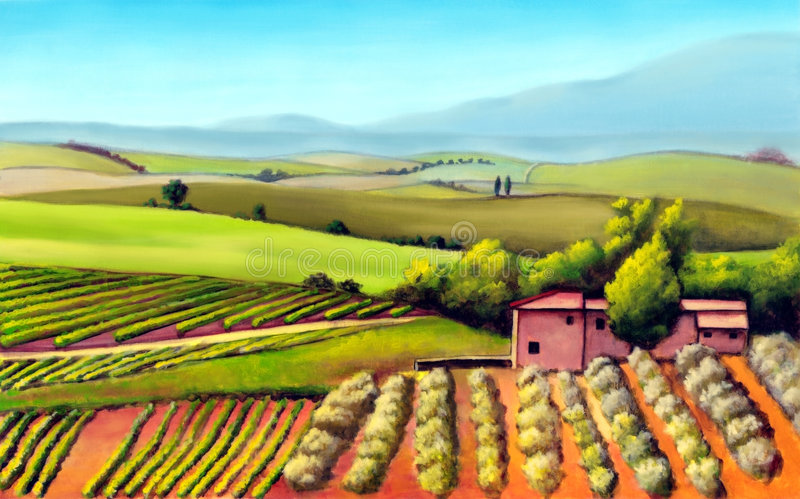 Tuscany landscape. Farmland in Tuscany, Italy. Original mixed media illustration vector illustration