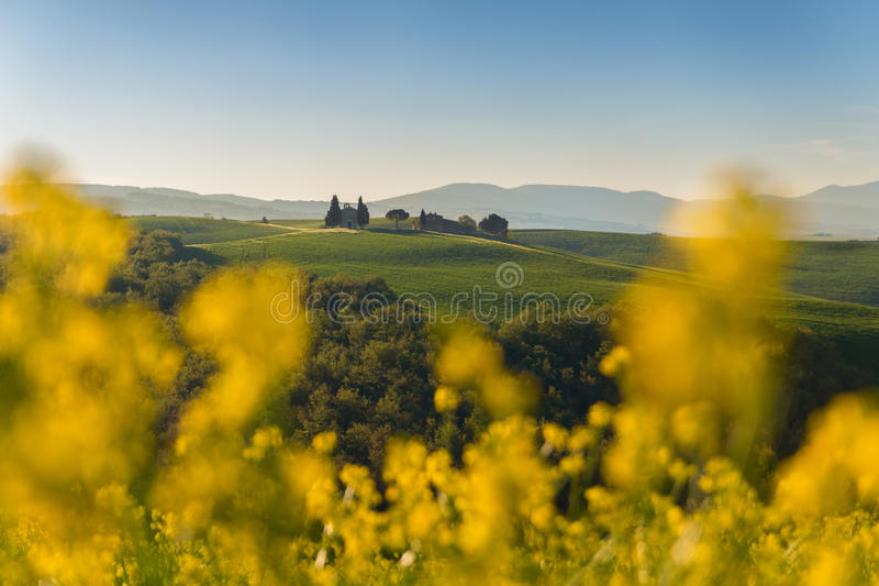 Tuscany landscape on the hill with a little chapel of Madonna d royalty free stock photos