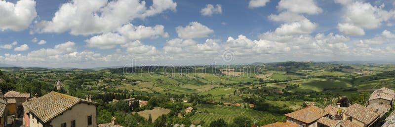 Tuscany landscape: panorama of Val di Chiana from Montepulciano, Tuscany, Italy, Europe. Panoramic view of a typical Tuscany landscape from Montepulciano stock image