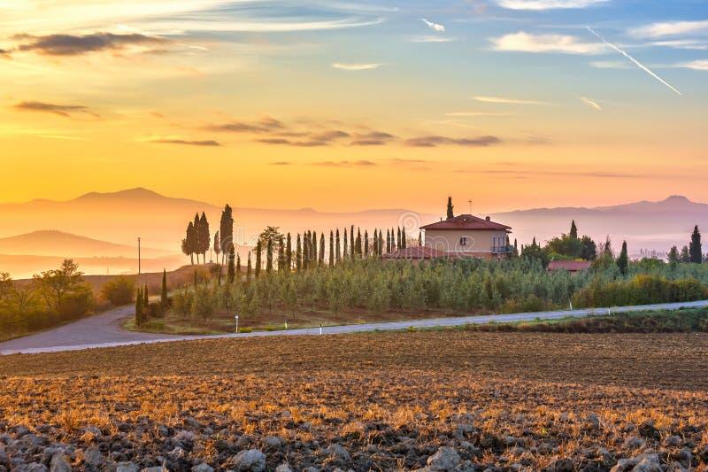 Tuscany landscape at sunrise royalty free stock photography