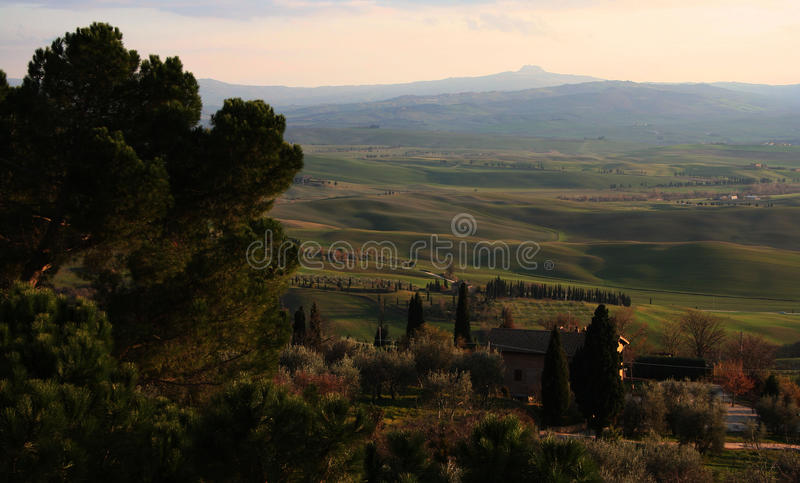 Tuscany landscape in the sunset royalty free stock image