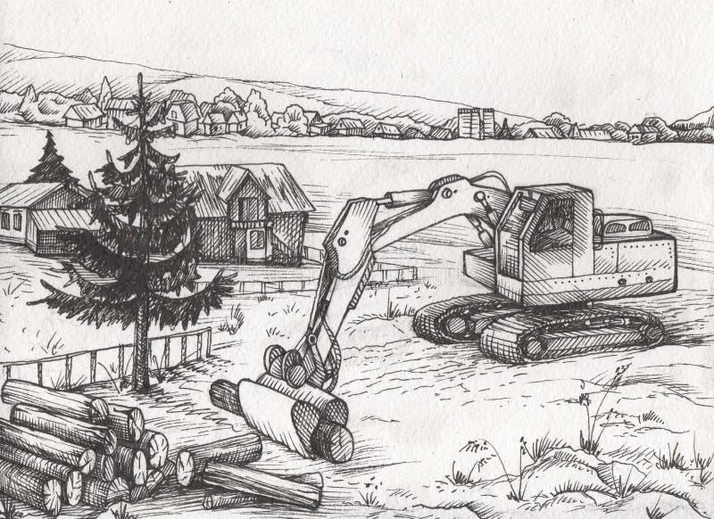Tuscany landskap med fält och byar illustratören för illustrationen för handen för borstekol gör teckningen tecknade som look pas royaltyfri illustrationer