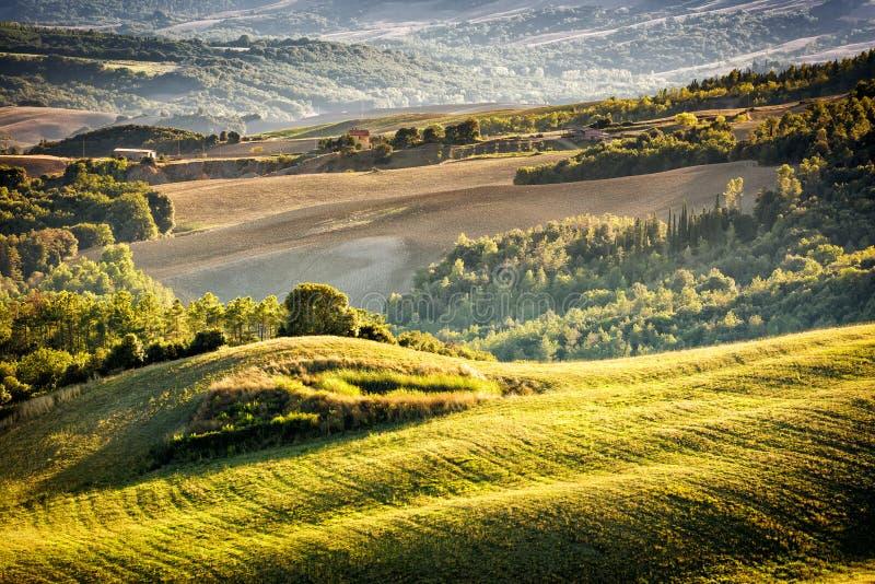 Tuscany landskap på solnedgången royaltyfri fotografi