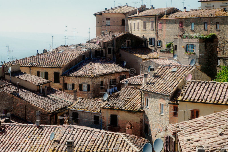 Tuscany old houses. The village Volterra in tuscany royalty free stock photography