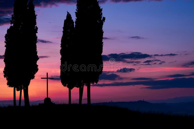 Tuscany på gryning arkivbilder