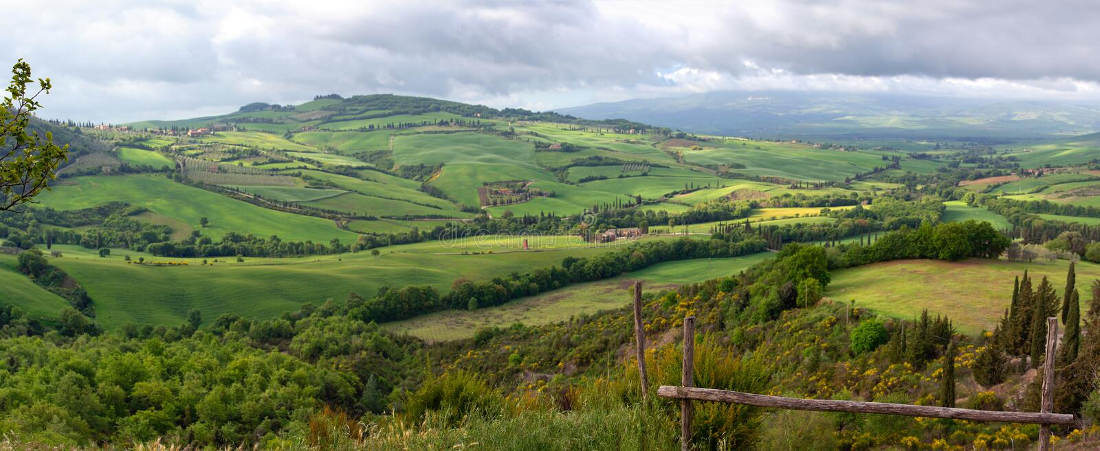 Tuscany panorama landscape in Italy stock images