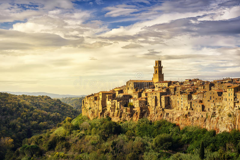 Tuscany, Pitigliano medieval village panorama landscape. Italy. Tuscany, Pitigliano medieval village on tuff rocky hill. Panorama landscape high resolution royalty free stock photos