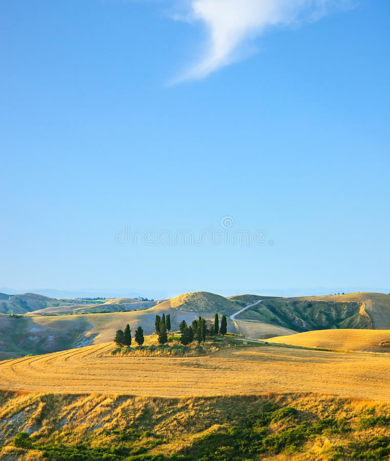Tuscany, rural landscape. Countryside farm and cypress trees royalty free stock photos