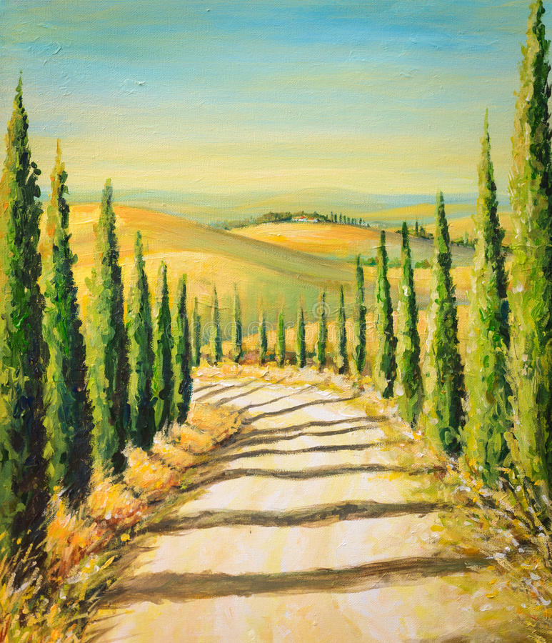 Tuscany. Rural landscape with road,fields and hills.Picture created with acrylic colours stock illustration
