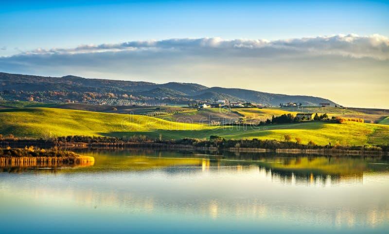 Tuscany, Santa Luce lake panorama on sunset, Pisa, Italy stock images
