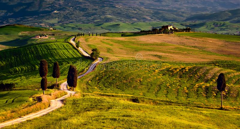 Tuscany scene from gladiator movie with road and farmhouse. On summer afternoon , with rolling hills and Cypress trees stock image