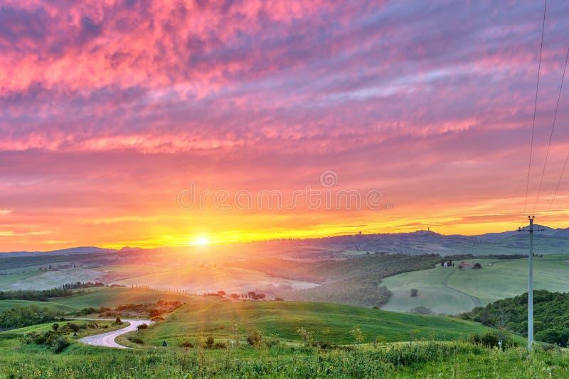Tuscany Soluppgång Arkivfoto