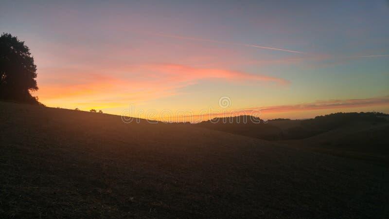 Tuscany soluppgång royaltyfri foto