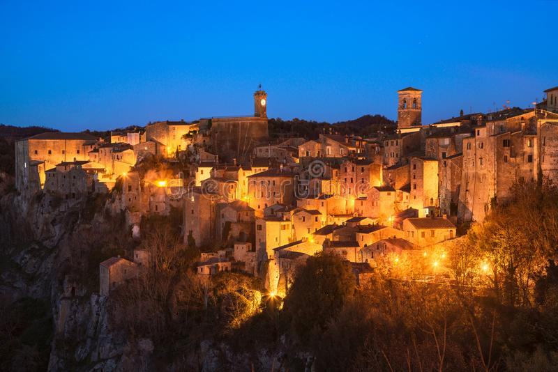Tuscany, Sorano medieval village blue hour sunset panorama. Ital royalty free stock photography