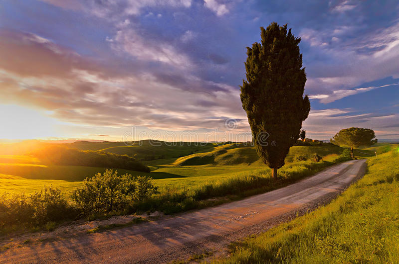 Tuscany sunset. Tuscany is known for its landscapes, traditions, history, artistic legacy and its influence on high culture. It is regarded as the birthplace of stock photo