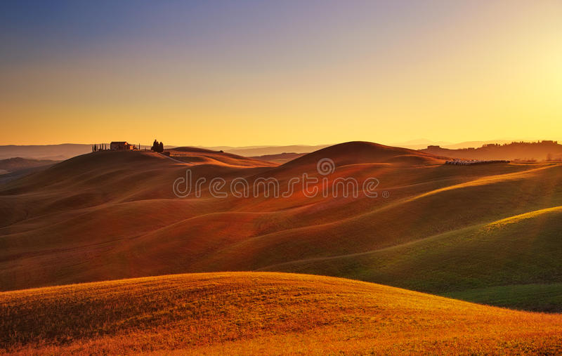 Download Tuscany, Sunset Rural Landscape. Rolling Hills, Countryside Farm Stock Image - Image of italy, park: 52117237