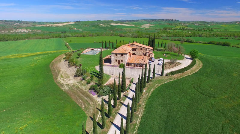 Tuscany village building, aerial view of italian hills stock photography