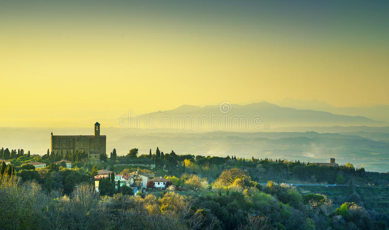 Tuscany, Volterra panoramic view and San Giusto Nuovo church at royalty free stock photos