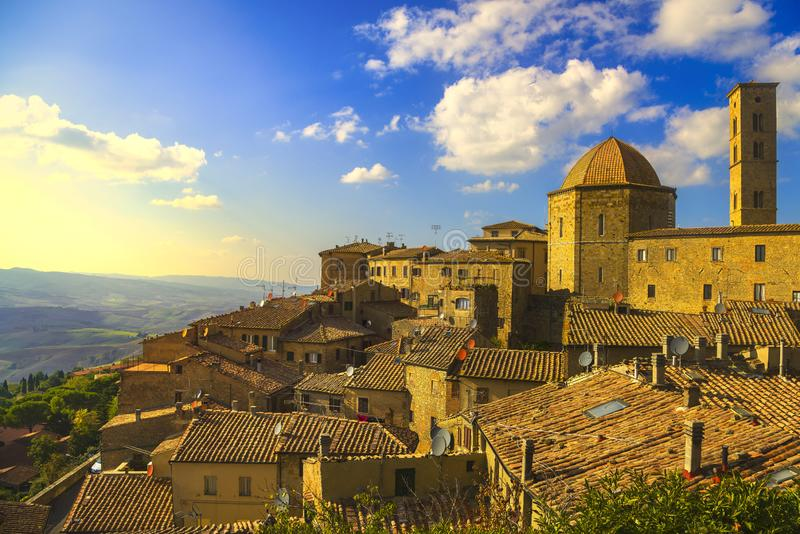 Tuscany, Volterra town skyline, church and panorama view on sunset. Italy royalty free stock photography