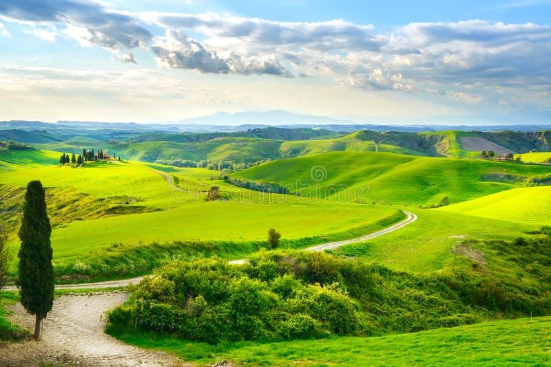 Tuscany, wiejski zmierzchu krajobraz obrazy royalty free