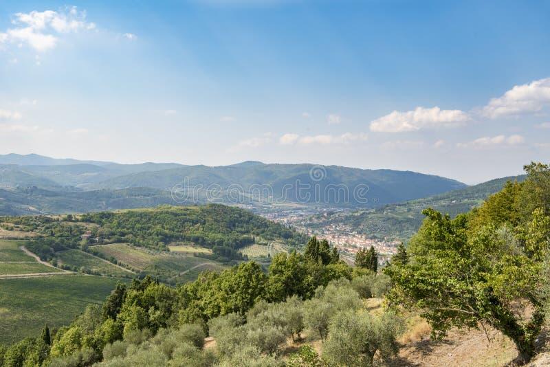 Tuscany - winnicy, wzgórza, wioski zdjęcie stock