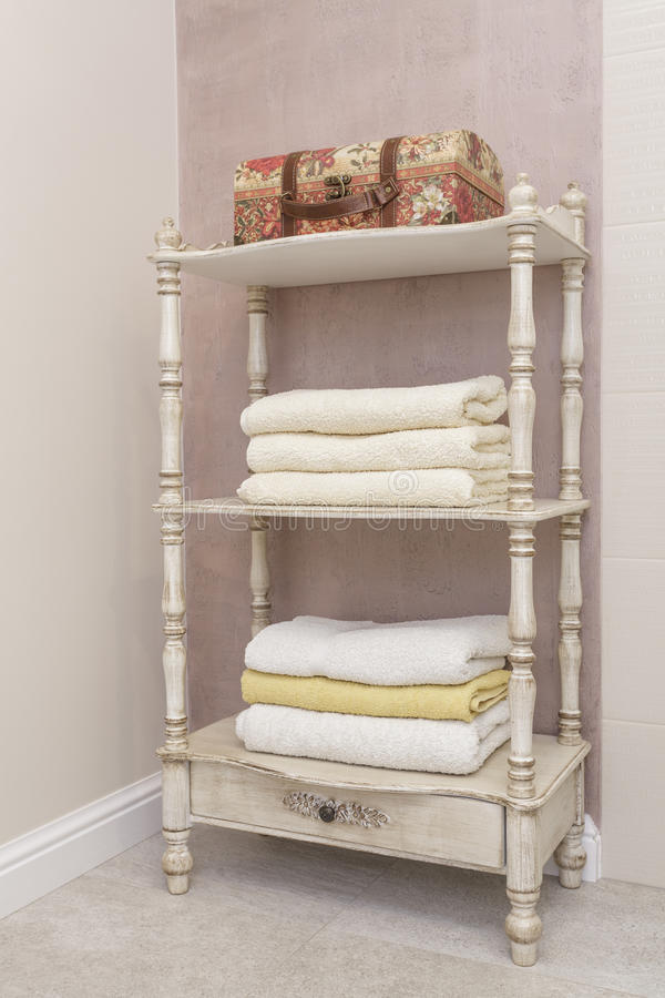 Tuscany - shelf with towels stock image