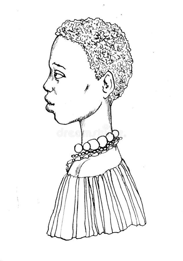 Tuschezeichnung eines afrikanischen Mädchens mit tragenden Perlen eines kurzen Haares und des Sommerkleides mit pelerine lizenzfreie abbildung