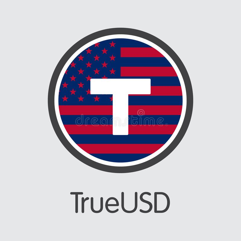TUSD - Trueusd Il logo di Cryptocurrency o dell'emblema del mercato royalty illustrazione gratis