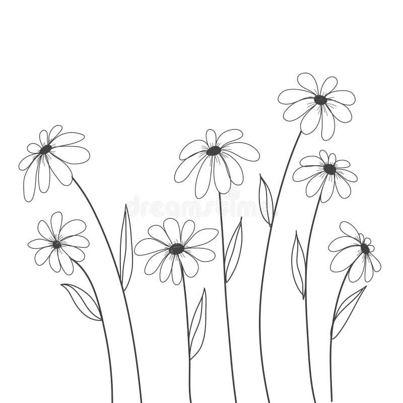 Tusenskönablommor räcker den utdragna vektorn för bakgrund, dekorerar, täcker vektor illustrationer