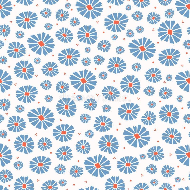 Tusenskönafältet blommar över hela tryckvektorn Sömlös upprepande modell för färgrika blom vektor illustrationer