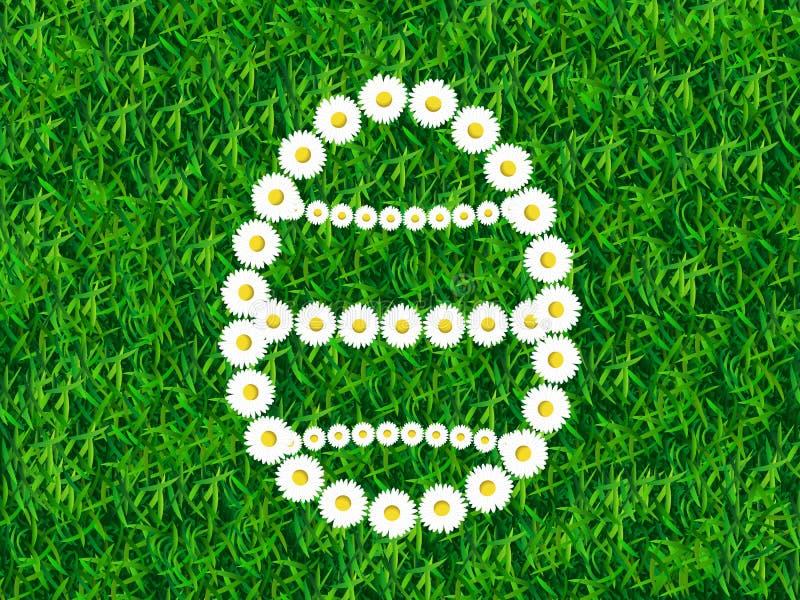 Tusenskönakedja i form av påskägget på gräsbakgrund vektor illustrationer