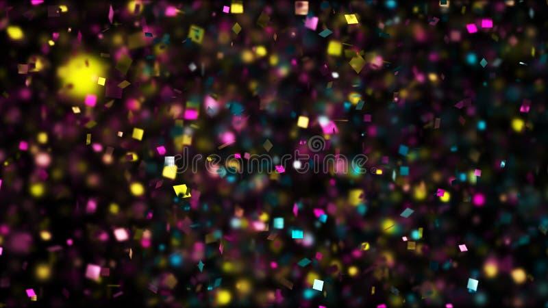 Tusentals konfettier avfyrade på luft under en festival på natten arkivbilder