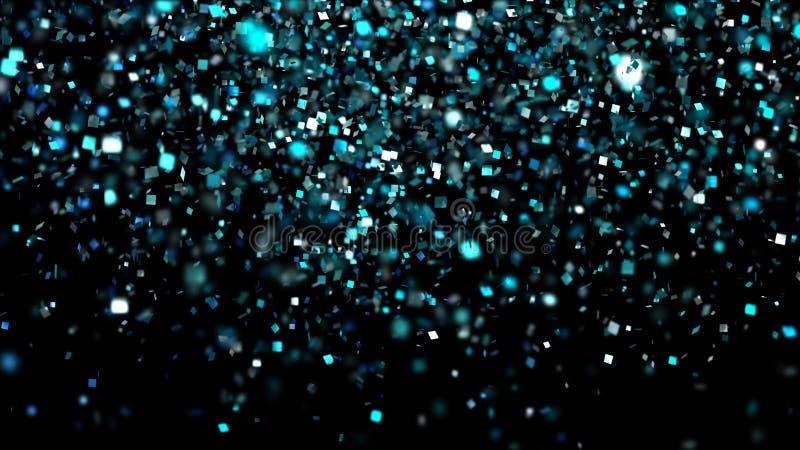 Tusentals konfettier avfyrade på luft under en festival på natten royaltyfria bilder