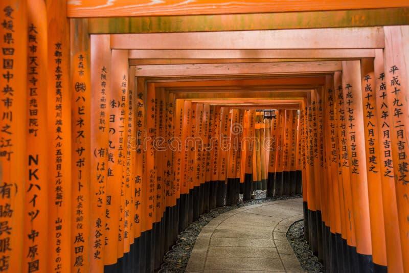 Tusentals toriiportar, Fushimi Inari relikskrin, Kyoto, Japan royaltyfri foto