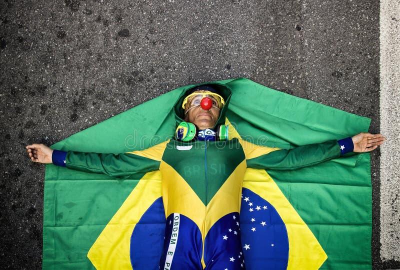 Tusentalshopsamling för enkorruption protest i Sao Paulo, Br royaltyfri fotografi