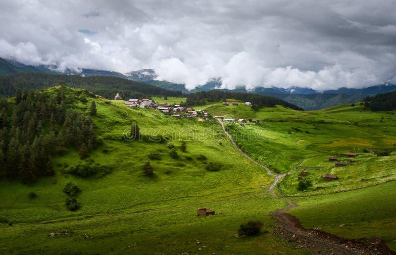 Tusheti地区的Shenako老村庄,乔治亚 免版税库存照片