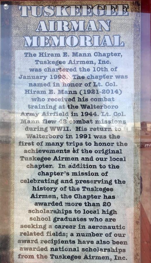 Tuskegee空军纪念碑站立在Walterboro军队空气领域基地在南卡罗来纳,美国 免版税库存图片